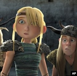 "LEFT to RIGHT: Astrid (America Ferrera) and Tuffnut (TJ Miller) in scene from ""How to Train Your Dragon"""