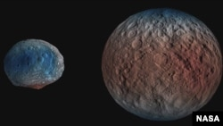 NASA's Dawn spacecraft determined the hydrogen content of the upper yard, or meter, of Ceres' surface. Blue indicates where hydrogen content is higher, near the poles, while red indicates lower content at lower latitudes. (NASA/JPL-Caltech/UCLA/MPS/DLR/IDA/PSI)