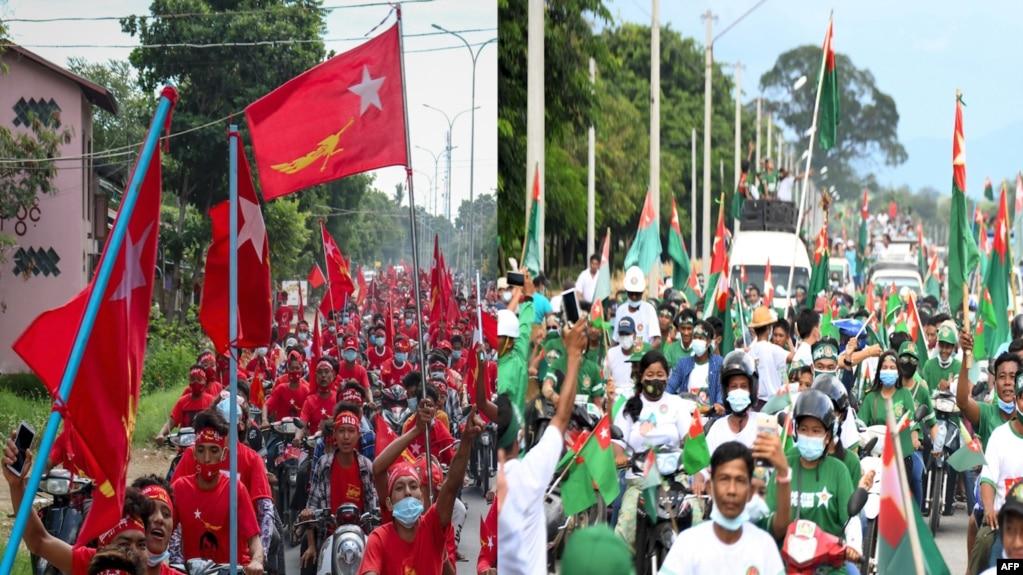 ၂၀၂၀ ေရြးေကာက္ပဲြ ေအာင္ႏုိင္ေရး အၿပိဳင္အဆုိင္ စည္း႐ုံးေရးဆင္းေနၾကတဲ့ NLD နဲ႔ USDP ပါတီ ေထာက္ခံသူမ်ား။