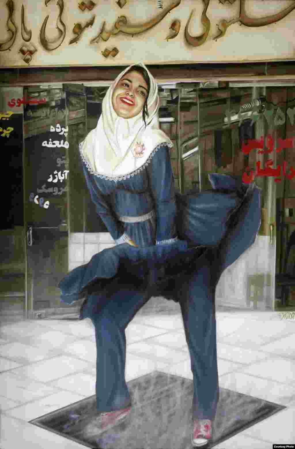"Dalam ""Marilyn,"" Homa Arkani dari Iran menciptakan ulang pose Marilyn Monroe yang ikonik. (International Museum of Women)"