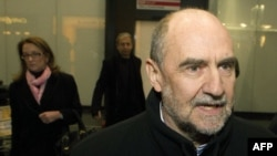The IAEA (International Atomic Energy Agency) Deputy Director General and Head of the Department of Safeguards Herman Nackaerts arrives after a trip with his team to Iran at the Airport Schwechat, in Vienna, January 18, 2013.