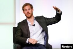 Britain's Prince Harry speaks at the first Obama Foundation Summit in Chicago, Illinois, Oct. 31, 2017.
