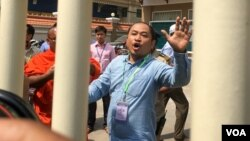 Kim Sok, a political analyst, was charged and sent to pre-trial detention following hours of questioning, February 17, 2017, Phnom Penh, Cambodia. (Hean Socheata/ VOA Khmer)