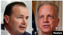 犹他州的迈克·李(左)参议员和堪萨斯州的杰里·莫兰参议员