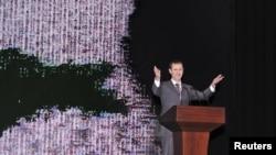 Tổng thống Syria Bashar al-Assad đọc diễn văn tại Nhà hát trong thủ đô Damascus, 6/1/13