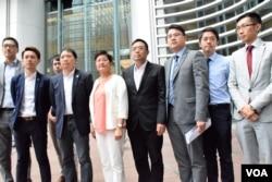 約10名民主黨成員與候任特首林鄭月娥會面。(美國之音湯惠芸攝)