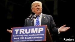 Ứng viên tổng thống của Đảng Cộng hòa Mỹ, Donald Trump, phát biểu tại một cuộc vận động bầu cử ở Rock Hill, South Carolina, hôm 8/1.