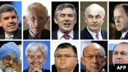 A combination photo of possible successors if Dominique Strauss-Kahn, the head of the International Monetary Fund, leaves the IMF. They are (top L-R) Mohamed El-Erian, Stanley Fischer of Israel, Gordon Brown of Britain, Kemal Dervis of Turkey, Peer Steinb