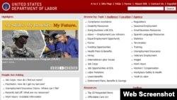 美国劳工部网页截图