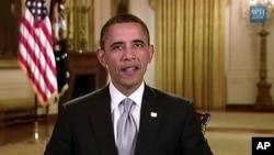 奥巴马总统1月28日在白宫发表每周例行广播讲话