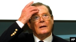 British actor and UNICEF ambassador Roger Moore, speaks at a press conference in Vienna, Austria, Nov. 13, 2010. Moore died Tuesday in Switzerland at 89.