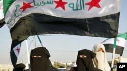 图为叙利亚抗议者7月21日高举旗帜抗议阿萨德总统
