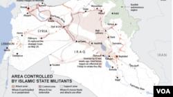 Các khu vực bị kiểm soát bởi quân đội Nhà nước Hồi giáo.