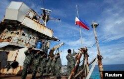 3月29日,菲律宾的海军陆战队的一个小分队在南中国海有争议的斯普拉特利群岛(中国称南沙群岛)举行活动
