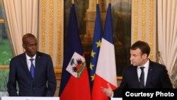 Prezidan Jovenel Moise ak Prezidan fransè a Emmanuel Macron. Pari 11 desanm 2017.