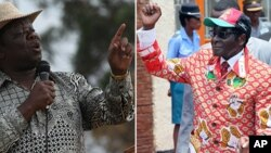 Movement for Democratic Change (MDC-T) leader Morgan Tsvangirai and Zanu PF's Robert Mugabe. (AP Photos/Collage by Ntungamili Nkomo)