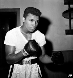 Young heavyweight fighter Cassius Clay is seen at City Parks Gym in New York, Feb. 8, 1962.