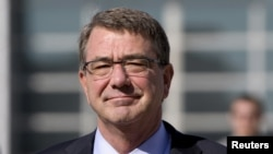 "FILE - U.S. Defense Secretary Ash Carter, pictured during a visit to Jordan in July 2015, says Pyongyang's missile test shows the need to ""build these missile defenses of various ranges to protect both our South Korean allies, U.S. forces on the Korean Peninsula, Japan and U.S. territory."""