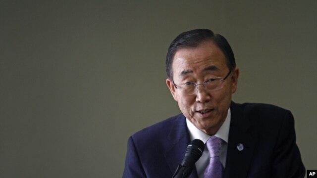 U.N. Secretary-General Ban Ki-moon speaks during a visit to the Korean Committee for UNICEF in Seoul, South Korea, Aug. 14, 2012.