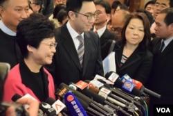 香港特首候選人林鄭月娥。(美國之音湯惠芸攝)