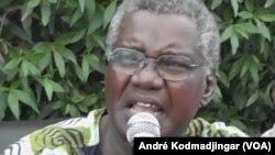 Gali Gata Ngoté de l'UFD/PR Union des Forces Démocratiques/Parti Républicain donne son avis lors lors d'une conférence de presse à N'Djamena, Tchad, 29 avril 2016. (VOA/André Kodmadjingar)