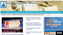 Một screenshot trang web của Trường Trung học Phổ thông Hà Nội - Amsterdam.