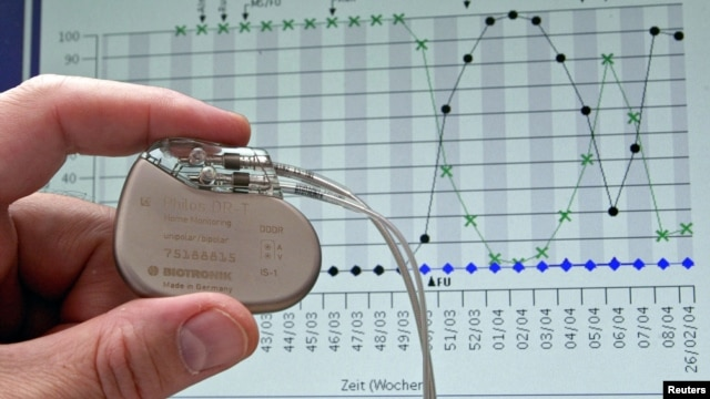 A pacemaker is shown against the backdrop of a cardiological graph in Potsdam, Germany, February 26, 2004.
