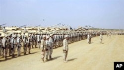 Saudi Press Agency file photo shows Saudi soldiers during visit by King Abdullah bin Abdul Aziz to Jizan Province, 2 December 2, 2009.