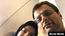 جواد سلیمانی که همسرش الناز نبیی در سرنگونی هواپیمای اوکراینی کشته شد