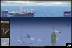 Graphic depicting the Riser Insertion Tube method to contain oil leaking from the riser of the Deepwater Horizon Well.