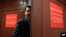 FILE - House Intelligence Committee Chairman Rep. Devin Nunes, R-California, enters the House Intelligence Committee area on Capitol Hill in Washington, Jan. 16, 2018.