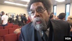 Princeton University professor Cornel West says Democratic nominee Hillary Clinton has not been able to convince him that she would genuinely address the issues that are important to those who backed Vermont Senator Bernie Sanders, Aug. 6, 2016. (G. Flakus/VOA)