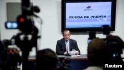 15일 줄리언 어산지의 망명과 관련해 에콰도르 정부의 입자을 밝히는 리카르도 파티오 외무장관.