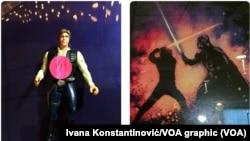 """Figurica Han Soloa, jednog od glavnih protagonista Ratova zvezda i poster za film """"Osveta džedaja"""" kome je reditelj Džordž Lukas kasnije promenio ime"""