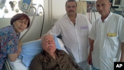 Photo provided by Lech Walesa's office from his internet blog shows the former Polish president in a hospital in Gdansk, June 8, 2011