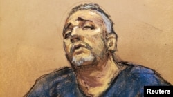 """Alex Cifuentes, a close associate of the accused Mexican drug lord Joaquin """"El Chapo"""" Guzman (not shown) is seen testifying in this courtroom sketch in Brooklyn federal court in New York, Jan. 15, 2019."""