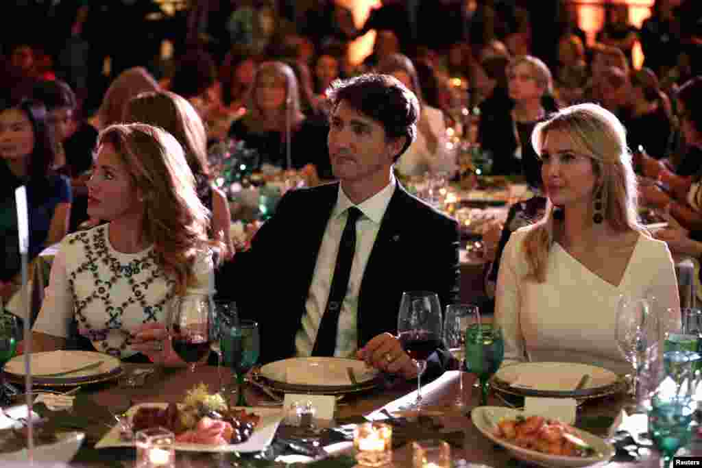 "Canadian Prime Minister Justin Trudeau, his wife Sophie, left, and Senior White House Advisor Ivanka Trump, right, sit together at the 2017 Fortune magazine's ""Most Powerful Women"" summit in Washington, Oct. 10, 2017."