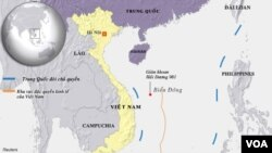 Bản đồ nơi Trung Quốc đặt giàn khoan dầu Hải Dương 981.