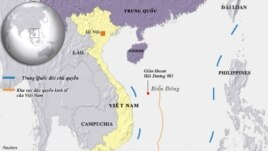 Bản đồ nơi Trung Quốc hạ đặt giàn khoan Hải Dương 981.