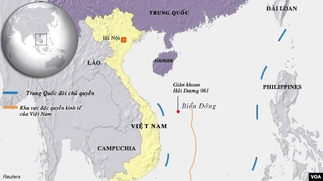 Bản đồ khu vực nơi Trung Quốc hạ đặt giàn khoan dầu.