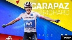 Richard Carapaz, joven ciclista ecuatoriano que ganó la octava etapa del Giro de Italia, llevando a su país al grupo de 34 naciones que han ganado en el torneo.