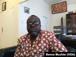 Liberia Minister of Information, Lewis Brown, Monvoria, Liberia, Oct. 13, 2014. (Benno Muchler/VOA)