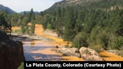 Air sungai Animas di La Plata, negara bagian Colorado berubah warna menjadi kuning pekat akibat bobolnya bendungan limbah tambang emas Gold King.