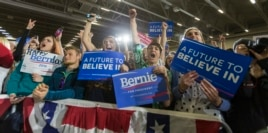 Supporters of Democratic presidential candidate Bernie Sanders cheer for the Vermont senator at a campaign stop in Madison, Wis., March 26, 2016.