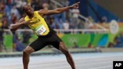 Umukinyi Usain Bolt, mu nkino z'i Rio de Janeiro, mu Gihugu ca Brezil.