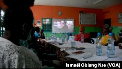 """""""Dangers sur le net"""", une partie de la formation des relais communautaires, à Libreville, au Gabon, le 18 octobre 2021."""