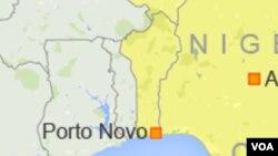 Une carte du Bénin indiquant la ville de Porto-Novo