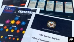 Phúc trình của Bộ Ngoại Giao Mỹ công bố ngày 5/8/2020. nói Nga đang dùng các hoạt động trên mạng để gây hoang mang và phát tán các thuyết âm mưu và tung tin giả trên mạng. (AP Photo/Jon Elswick)