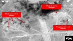 تصویر از حملات سال گذشتۀ امریکا بر یک پایگاه هوایی سوریه