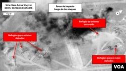 Foto de satélite luego de los ataques en Siria.